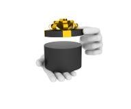 öppnar vita mänskliga håll för handen 3d den svarta gåvaasken illustration 3d Royaltyfria Bilder