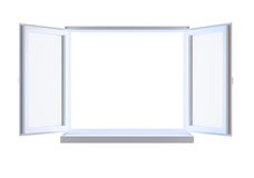 Öppnat fönster som isoleras på white Royaltyfria Bilder