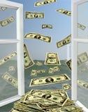 Öppnat fönster till havet med dollar Royaltyfri Bild