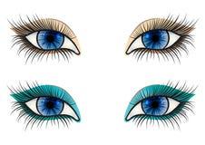 öppnat kvinnligt för blått öga Arkivbild