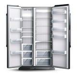 Öppnat mer bred tomt kylskåp stock illustrationer