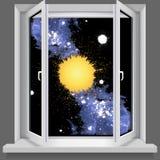 Öppnat plastic fönster. Med sikter av kosmoset vektor illustrationer