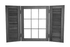 Öppnat träfönster på vit bakgrund, med kopian Spa Royaltyfri Fotografi