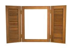 Öppnat träfönster på vit bakgrund, med kopian Spa Royaltyfria Bilder