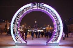 Öppning av julgranen i mitten av Tyumen Royaltyfri Foto