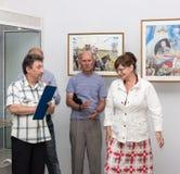 Öppning av utställningen av målningar Arkivbilder