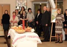 Öppning av utställningen som är hängiven till berömmen av påsken Arkivfoto