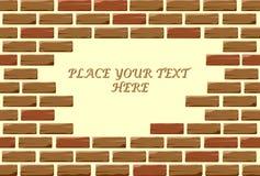 Öppning i tegelstenväggen för text Royaltyfri Foto