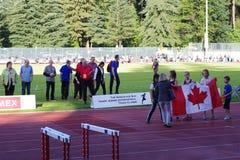 Öppningscermonier av Vancouver Sun Harry Jerome International Track Classic Arkivbilder