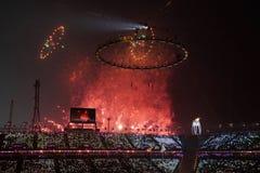 Öppningscermonin för 2018 vinterOS:er Royaltyfri Bild