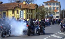 Öppningsmotorcykelsäsong 2016 Varna, Bulgarien arkivbilder