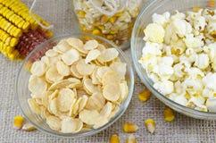 Öra av havre, popcorn och cornflakes Arkivbilder