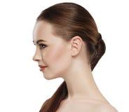 Öra för hals för framsida för hud för profilkvinnaskönhet Arkivfoto
