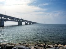 Öresund Bridge between Copenhagen and Malmö, Sweden, Europe. Öresund Bridge between Copenhagen and Malmö, world`s longest cable-stayed bridge stock photos