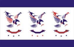 örn örn i blå och röd sammanslutning med bandet och stjärnan royaltyfri illustrationer