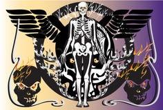 Örn för benskallebrand stock illustrationer