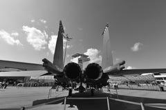 Örn för RSAF F-15SG på skärm på Singapore Airshow Royaltyfria Foton