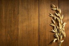 Öron av oaten på trä Royaltyfria Bilder
