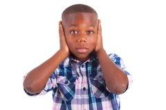 Öron för afrikansk amerikanpojkenederlag - svarta människor arkivfoton