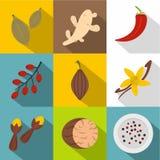 Ört- och kryddasymbolsuppsättning, lägenhetstil vektor illustrationer