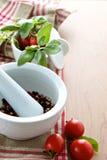 Örtar med peppercorns och tomater Arkivbild