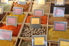 Örtar och kryddor på en fransk marknad Arkivfoto