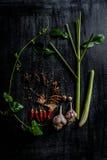 Örter och kryddor runt om tom skärbräda på mörk stenbackgr Royaltyfri Foto