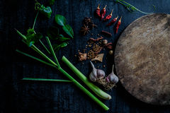 Örter och kryddor runt om tom skärbräda på mörk stenbackgr Fotografering för Bildbyråer