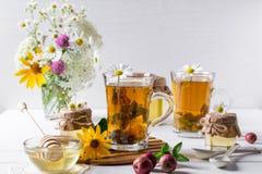 Örtte med örter och blommor i ett glass te lägger in med honung Bukett av blommor Arkivbild