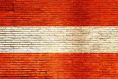 Österreich-Flagge gemalt auf einer Backsteinmauer Abbildung 3D Stockfotografie