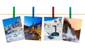 Österreich-Gebirgsskiphotographie auf Wäscheklammern Stockbilder