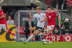Österreich gegen Deutschland Stockbilder