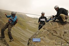 Österreich: Klettern in Montafon-Tal bei 'Gargellen-Köpfe ' stockfoto