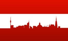 Österreich-Markierungsfahne mit Wien-Schattenbild Stockfoto