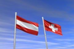 Österreich-und die Schweiz-Markierungsfahne Lizenzfreie Stockfotos