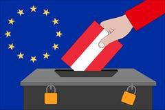 Österreich-Wahlurne für die Europawahlen stockfoto