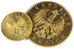 Österreichische Goldmünzen Stockfoto