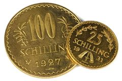 Österreichische Goldmünzen Lizenzfreie Stockbilder