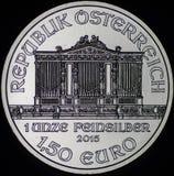 Österreichische philharmonische Silbermünze (Rückseite) Stockfotos