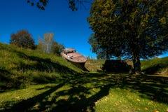 Österreichische Skulpturen parken - Betonboot lizenzfreie stockfotos