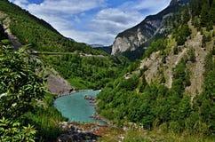 Österreichisches Alpe-Fluss-Gasthaus Lizenzfreies Stockfoto