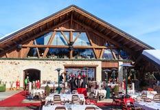 Österrike bergrestaurang schladming Ski Resort Courchevel i vintertid Royaltyfria Bilder