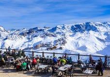Österrike bergrestaurang schladming Ski Resort Courchevel i vintertid Royaltyfri Foto