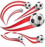Österrike flaggauppsättning med fotbollbollen Arkivbilder