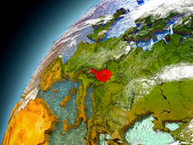 Österrike från omlopp av modellen Earth Arkivbild