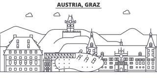 Österrike Graz arkitekturlinje horisontillustration Linjär vektorcityscape med berömda gränsmärken, stadssikt, design stock illustrationer