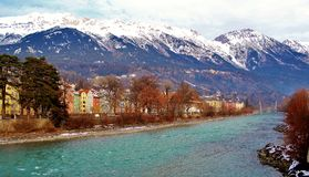 Österrike Innsbruck flod Fotografering för Bildbyråer