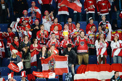 Österrike ishockeyfans Royaltyfri Foto