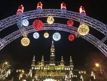 Österrike julmarknad vienna Arkivfoton