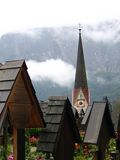 Österrike kyrkogårdhallstatt Arkivfoton